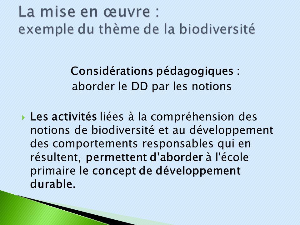 La mise en œuvre : exemple du thème de la biodiversité