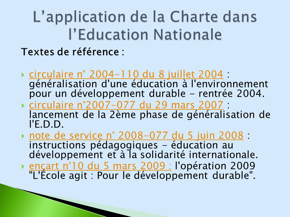 L'application de la Charte dans l'Education Nationale