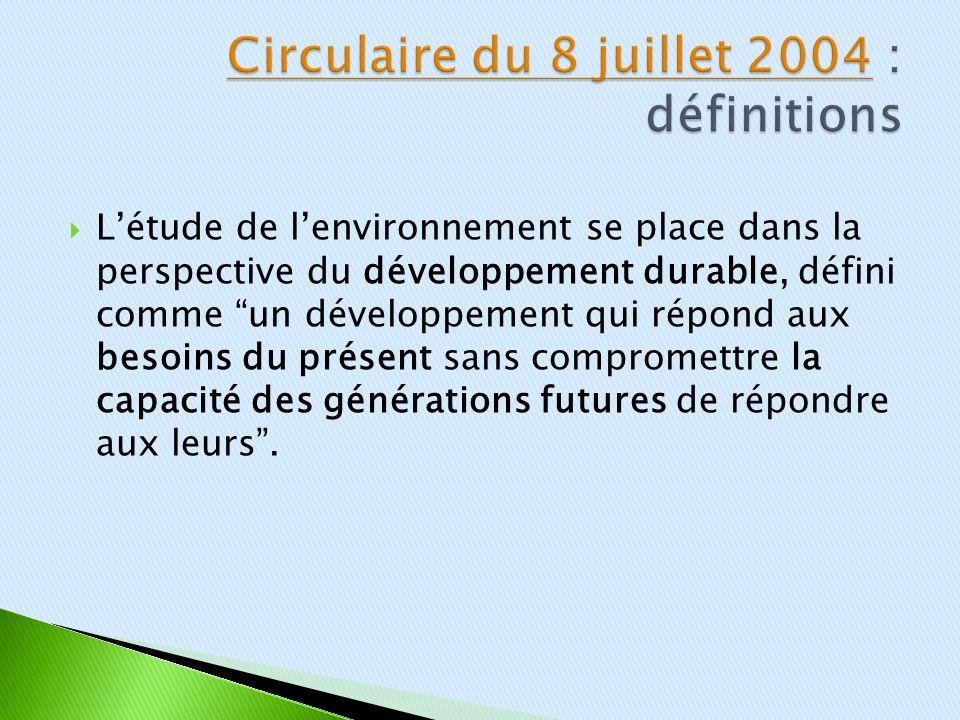 Circulaire du 8 juillet 2004 : définitions