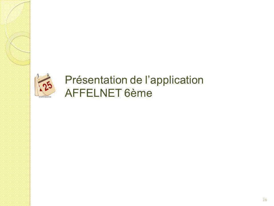 Présentation de l'application AFFELNET 6ème