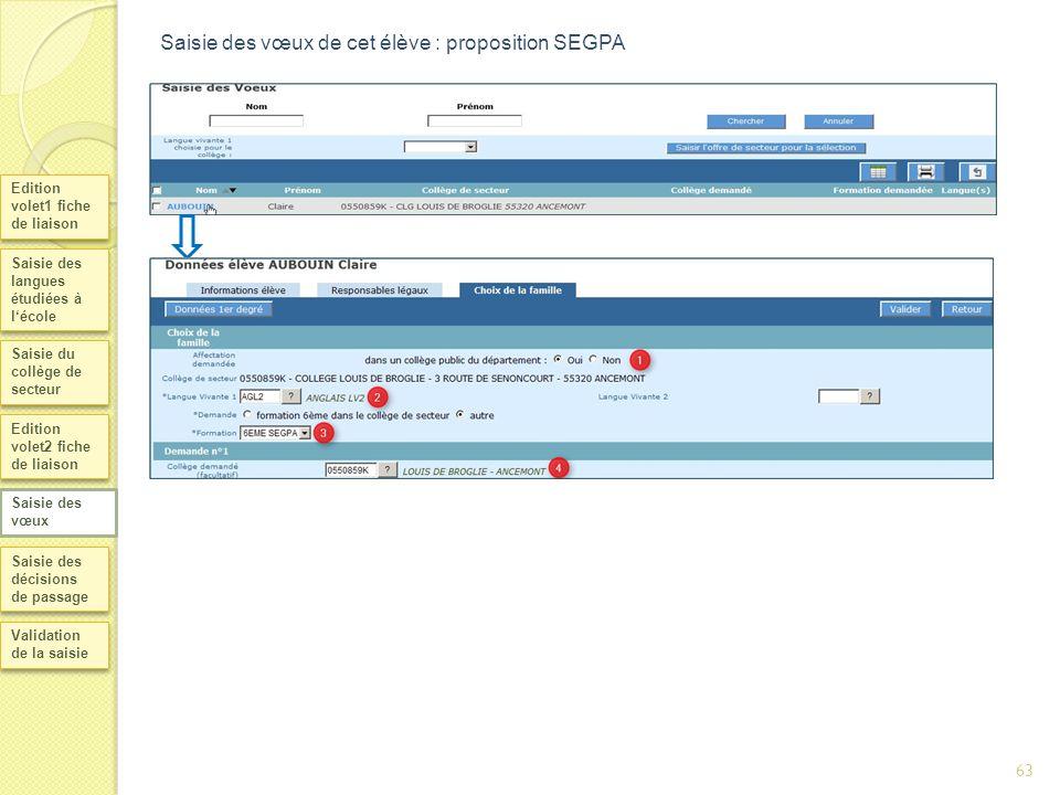 Saisie des vœux de cet élève : proposition SEGPA