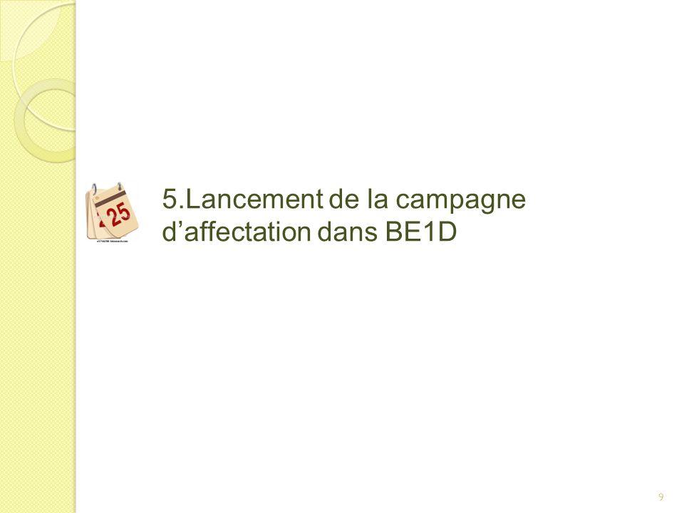5.Lancement de la campagne d'affectation dans BE1D