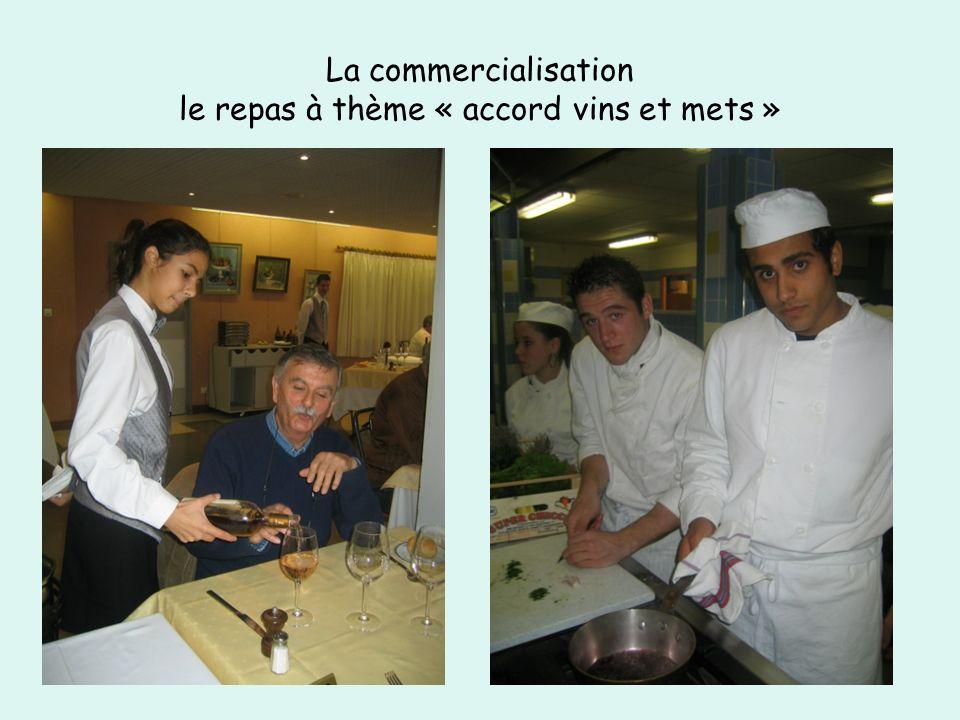 La commercialisation le repas à thème « accord vins et mets »