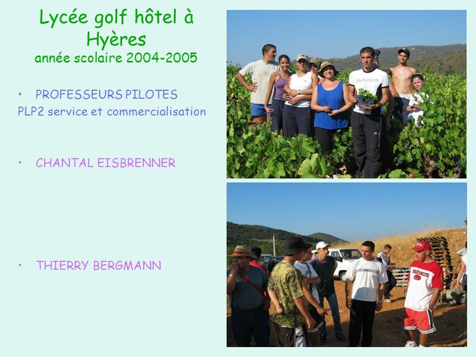 Lycée golf hôtel à Hyères année scolaire 2004-2005