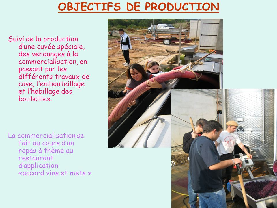 OBJECTIFS DE PRODUCTION