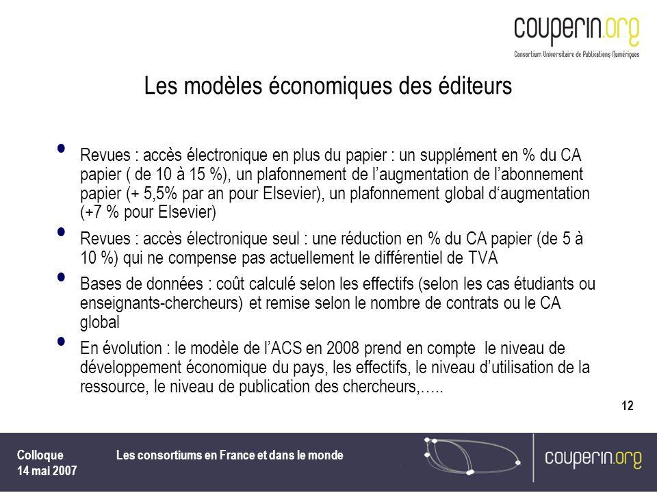 Les modèles économiques des éditeurs