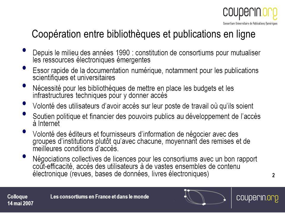 Coopération entre bibliothèques et publications en ligne