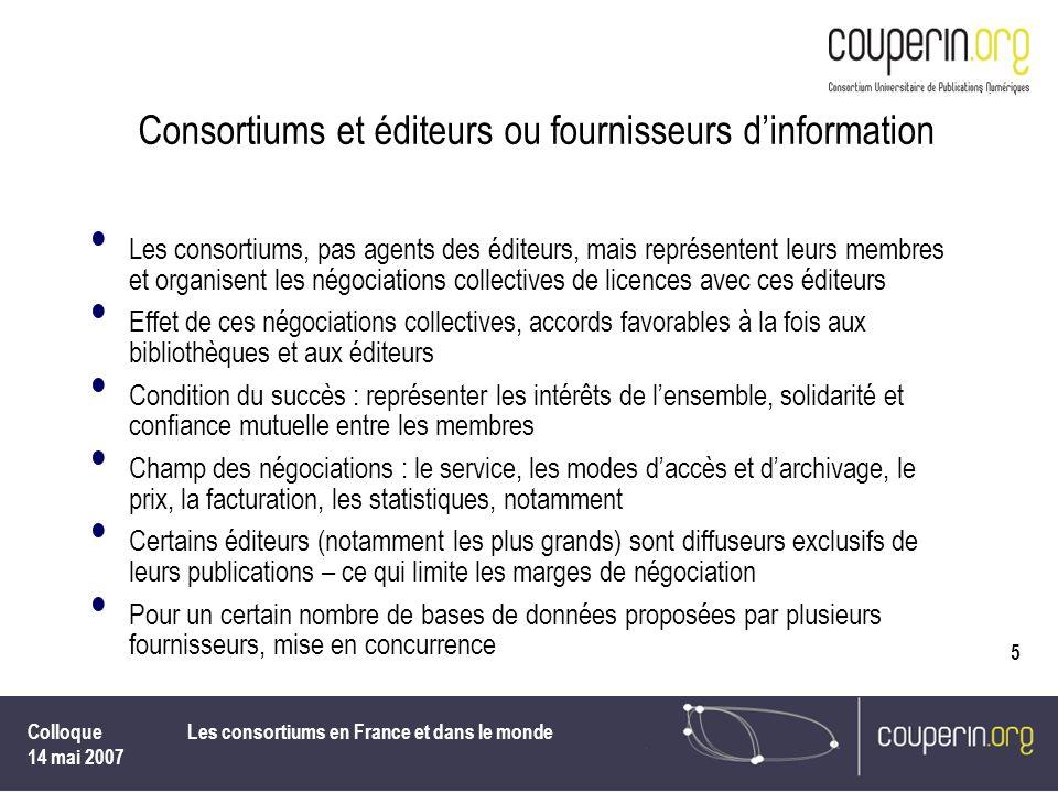 Consortiums et éditeurs ou fournisseurs d'information