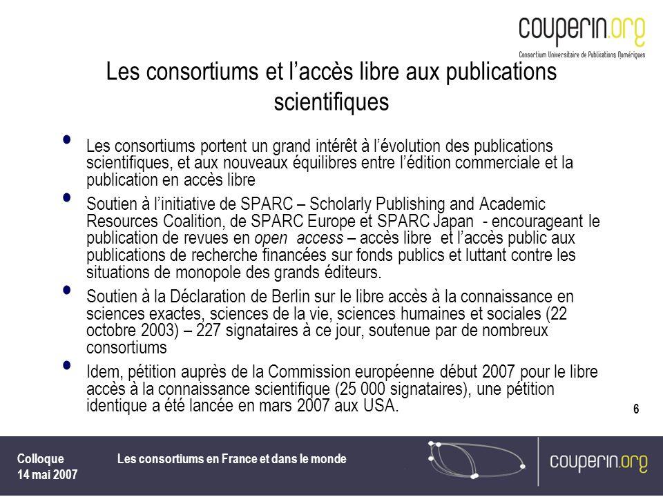 Les consortiums et l'accès libre aux publications scientifiques