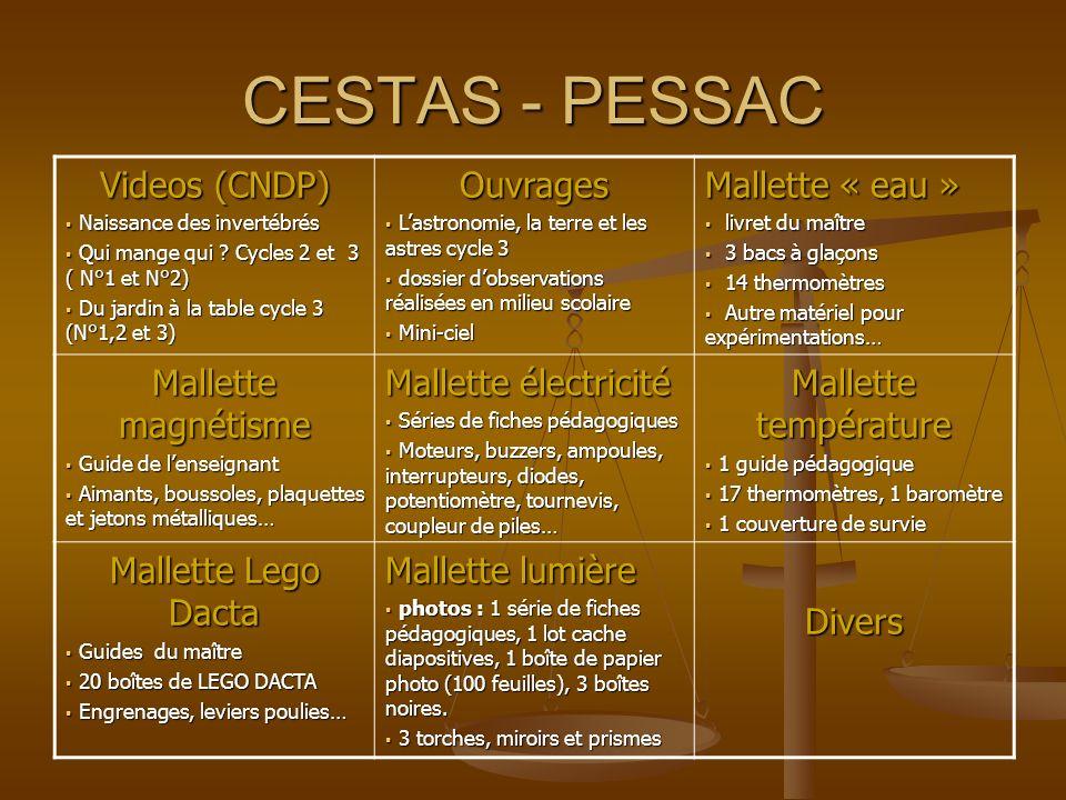 CESTAS - PESSAC Videos (CNDP) Ouvrages Mallette « eau »