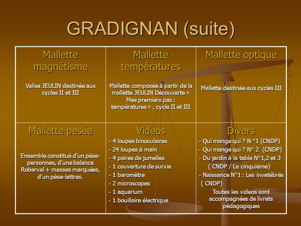 GRADIGNAN (suite) Mallette magnétisme Mallette températures