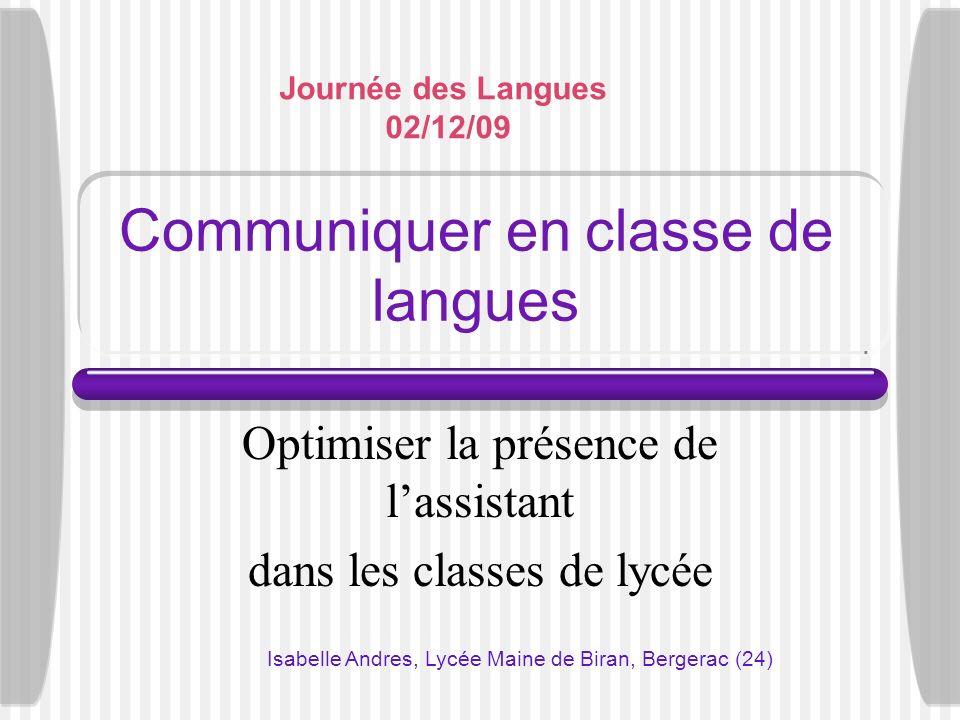 Communiquer en classe de langues