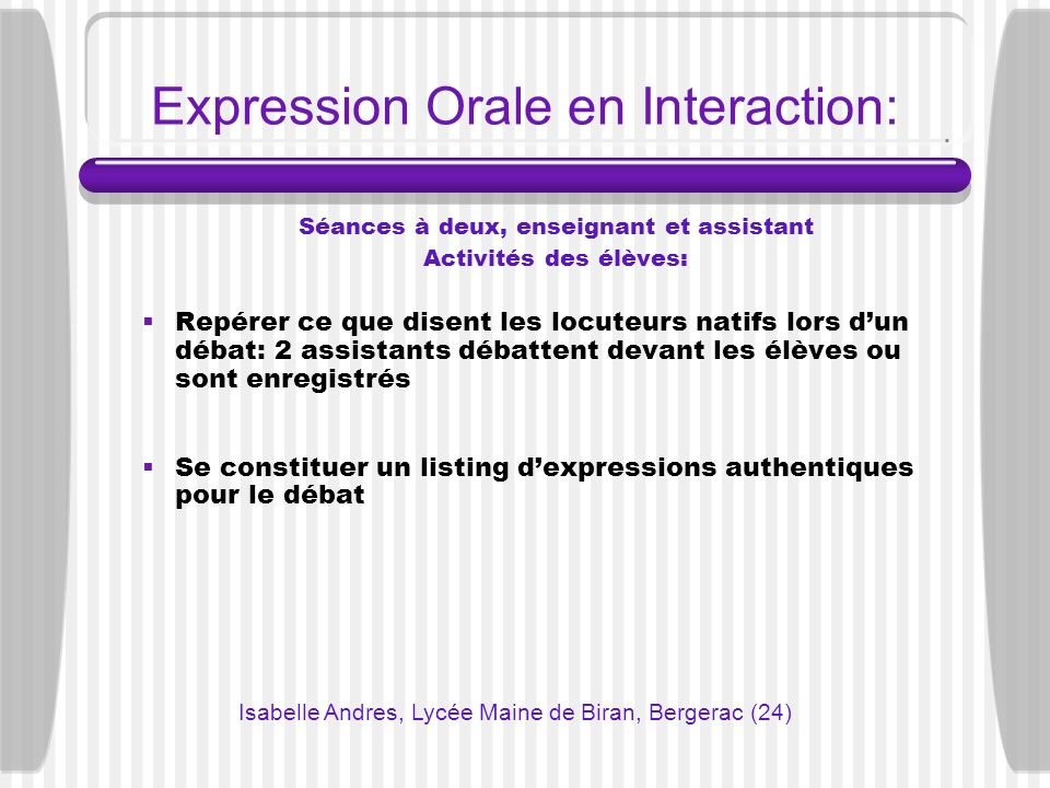 Expression Orale en Interaction: