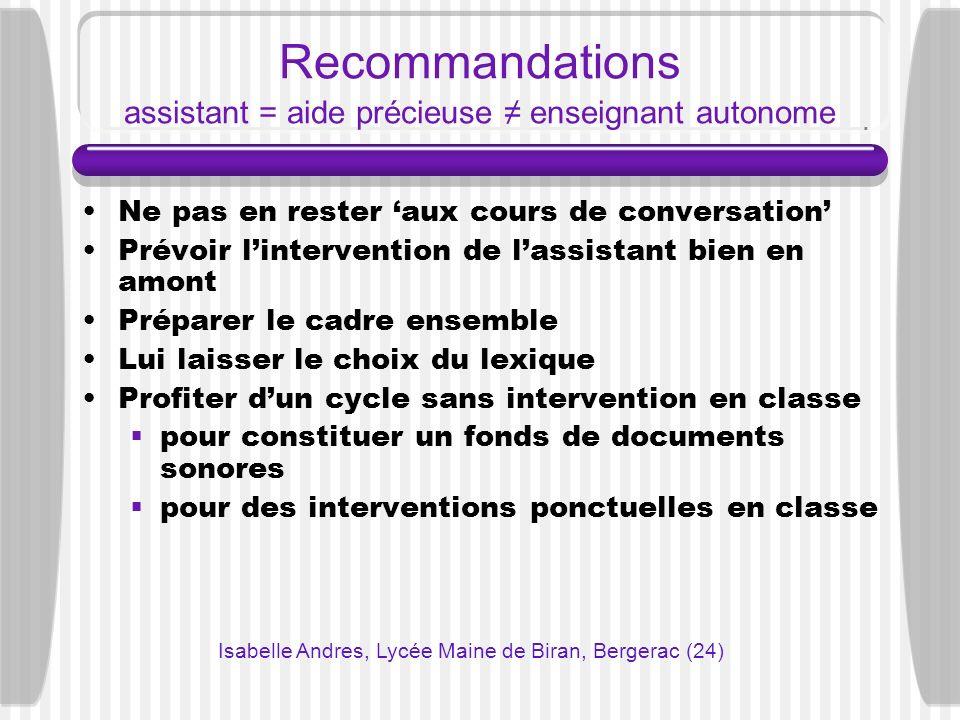 Recommandations assistant = aide précieuse ≠ enseignant autonome