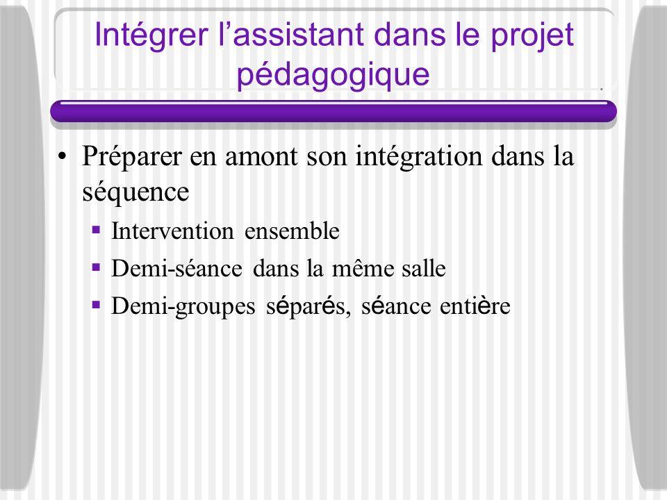 Intégrer l'assistant dans le projet pédagogique