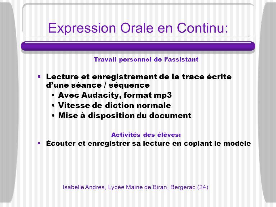Expression Orale en Continu: