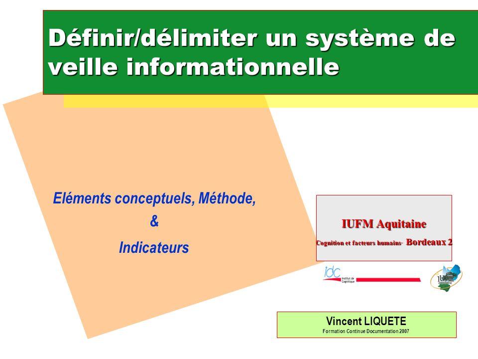 Définir/délimiter un système de veille informationnelle