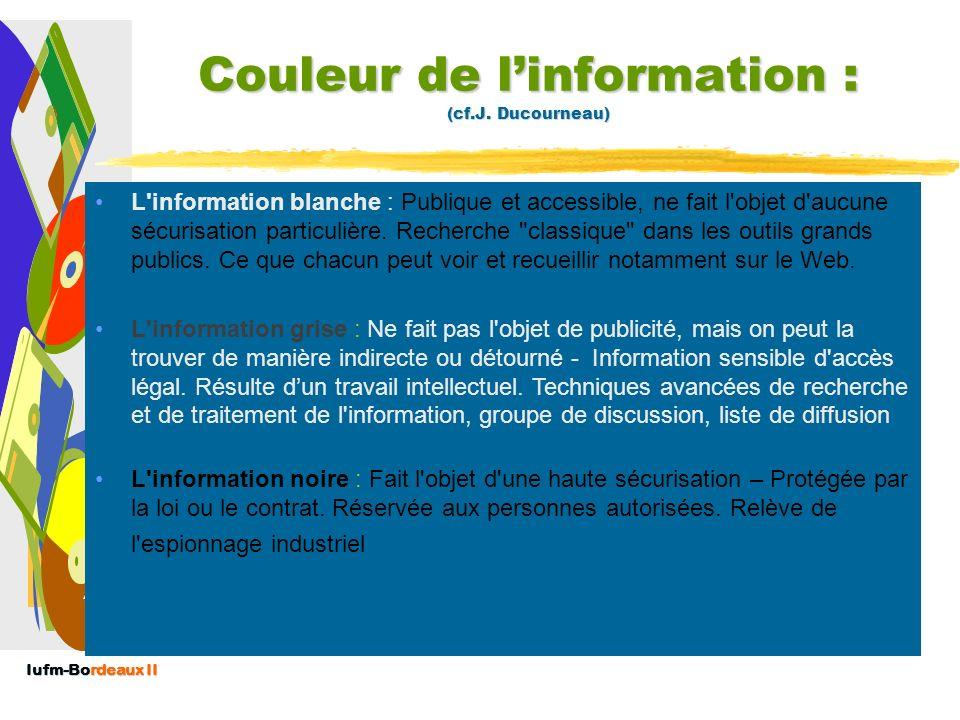Couleur de l'information : (cf.J. Ducourneau)