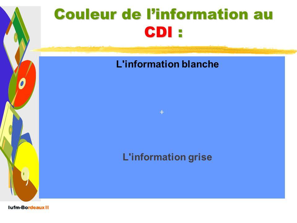 Couleur de l'information au CDI :