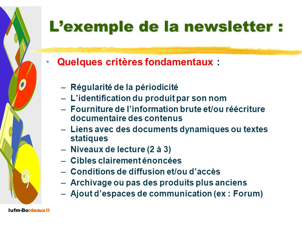 L'exemple de la newsletter :