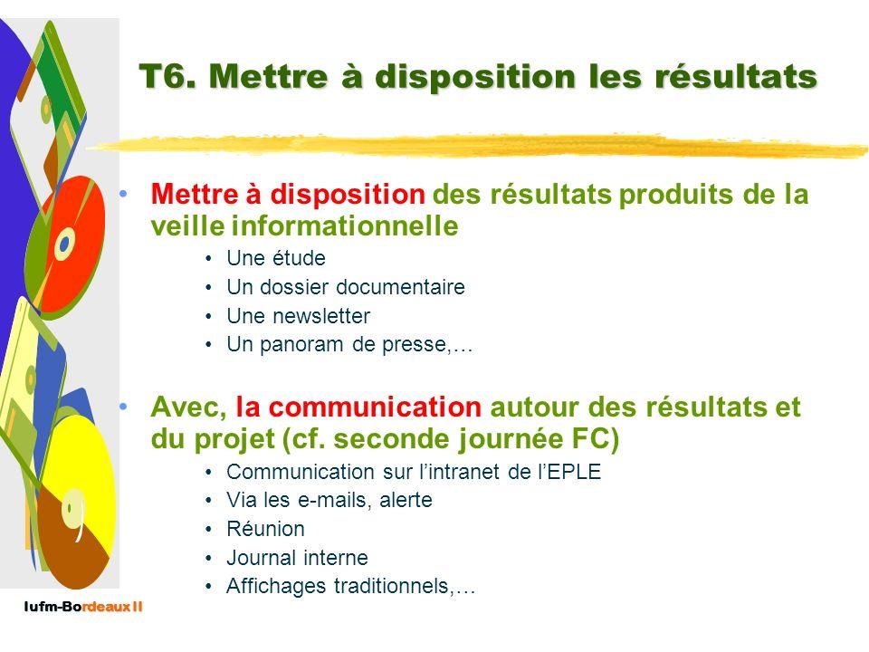 T6. Mettre à disposition les résultats