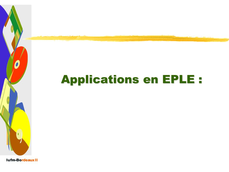 Applications en EPLE :