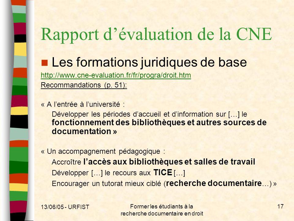Rapport d'évaluation de la CNE