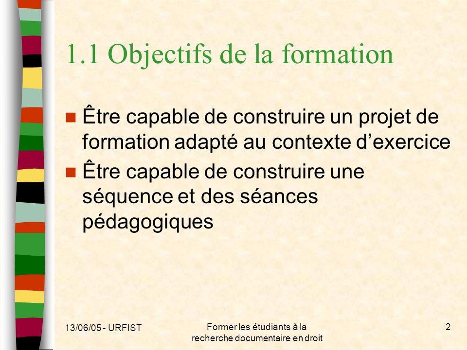 1.1 Objectifs de la formation