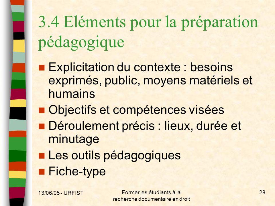3.4 Eléments pour la préparation pédagogique
