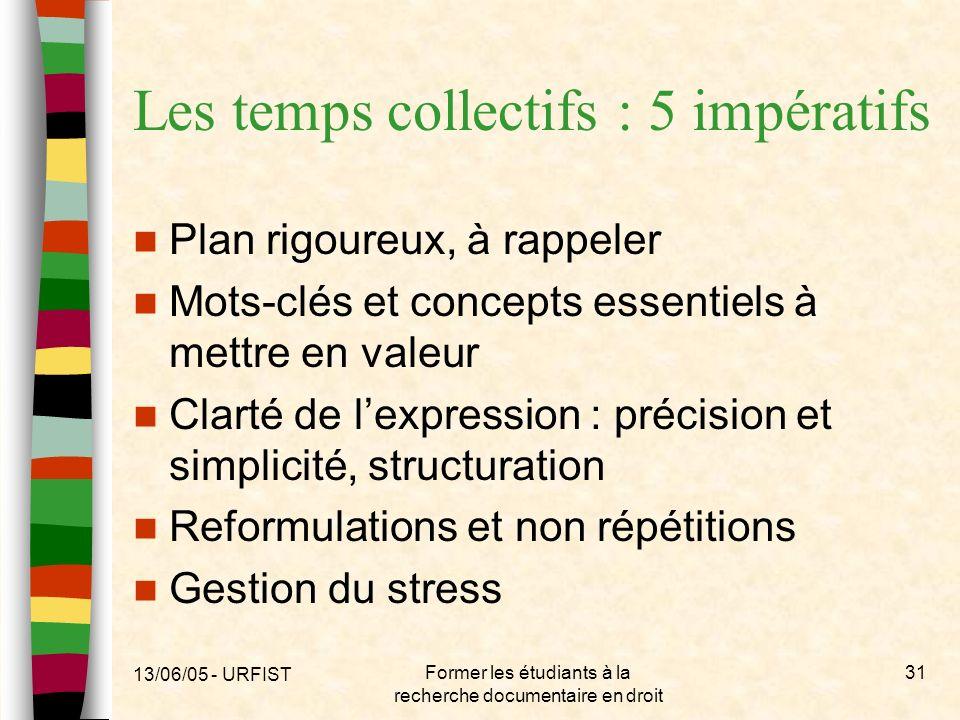 Les temps collectifs : 5 impératifs