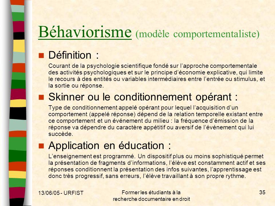 Béhaviorisme (modèle comportementaliste)