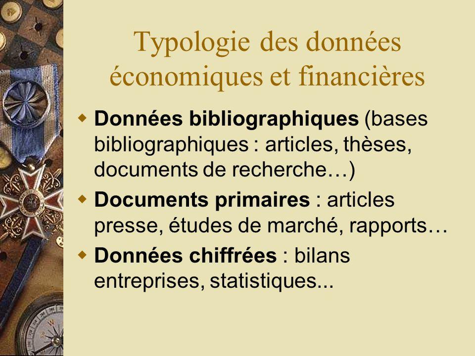 Typologie des données économiques et financières