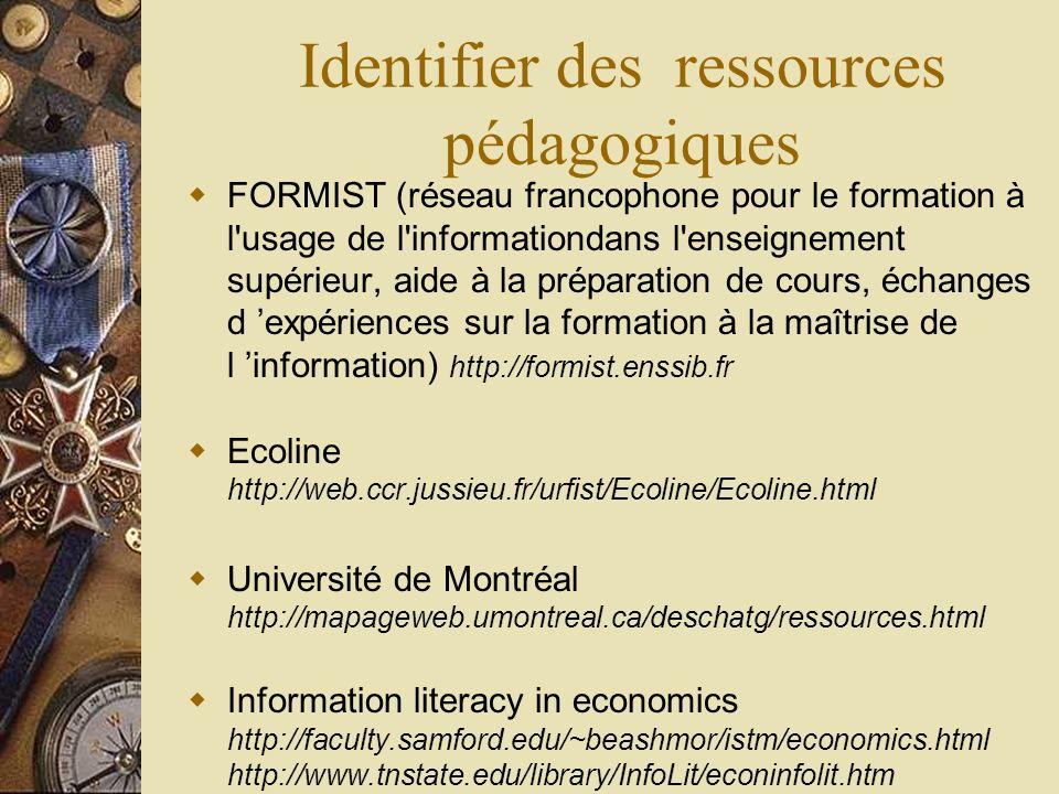 Identifier des ressources pédagogiques