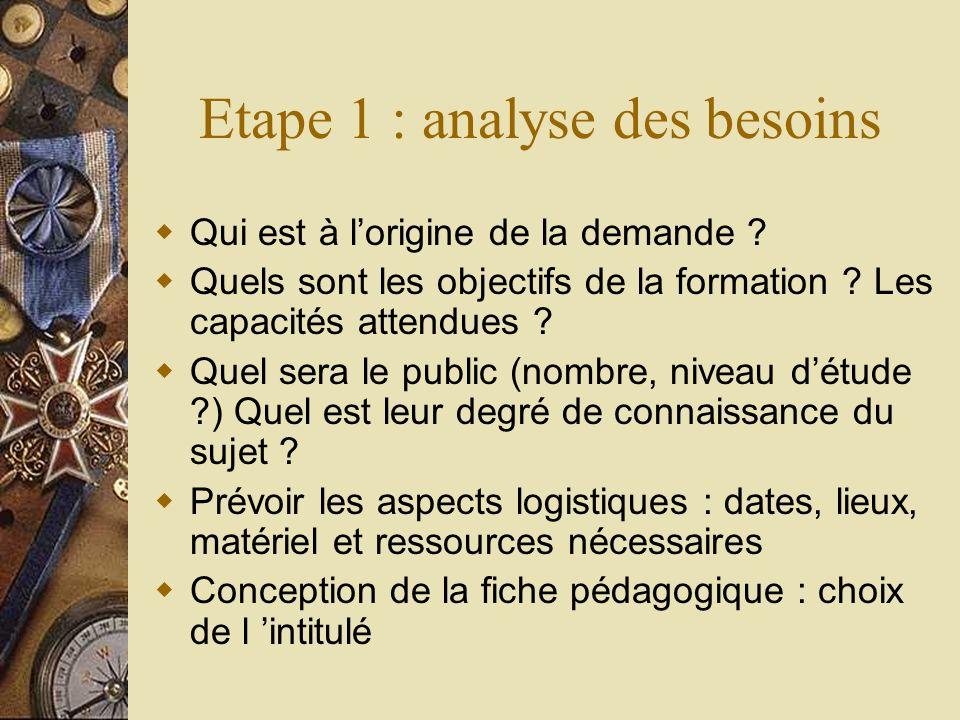Etape 1 : analyse des besoins