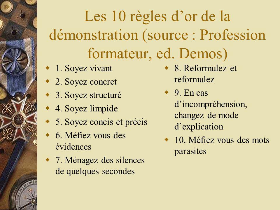 Les 10 règles d'or de la démonstration (source : Profession formateur, ed. Demos)
