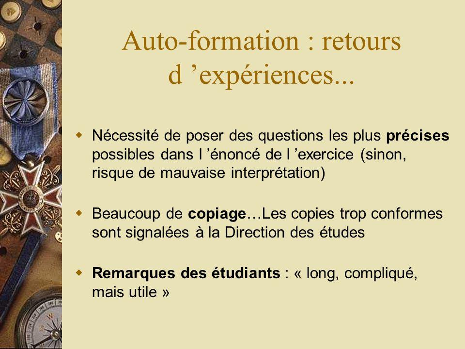 Auto-formation : retours d 'expériences...