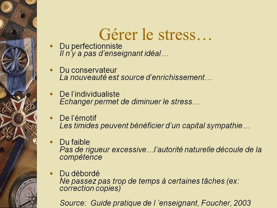 Gérer le stress… Du perfectionniste Il n'y a pas d'enseignant idéal…