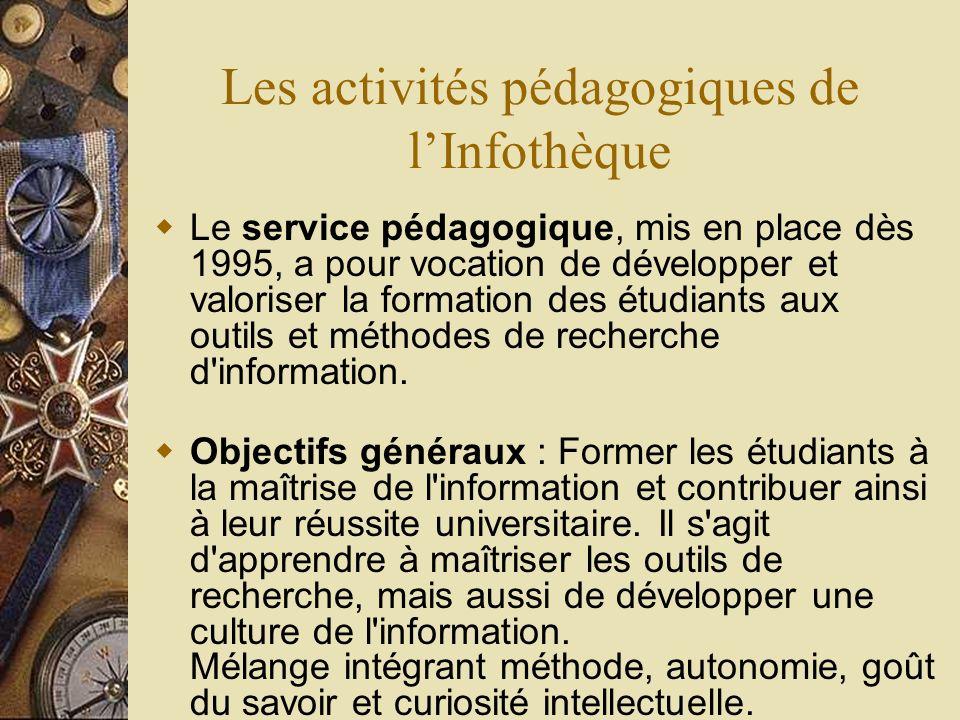 Les activités pédagogiques de l'Infothèque
