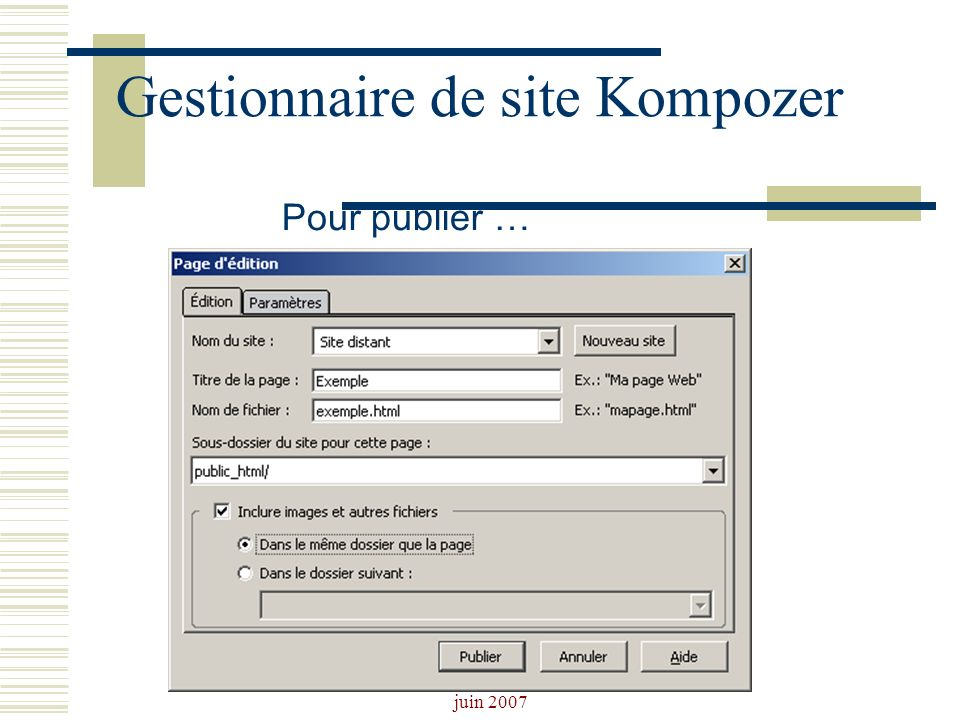 Gestionnaire de site Kompozer