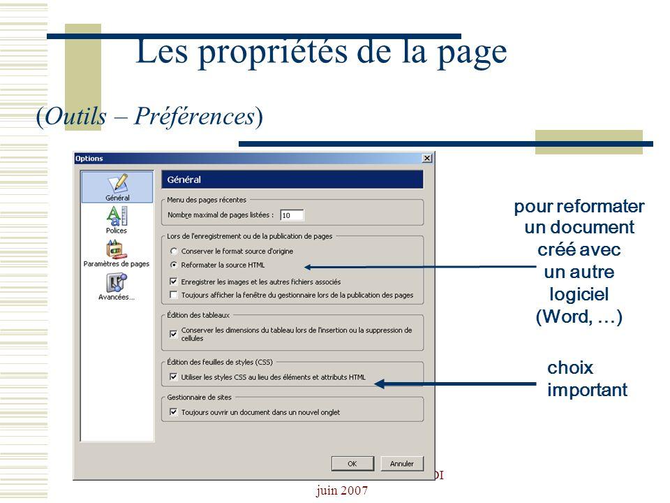 Les propriétés de la page