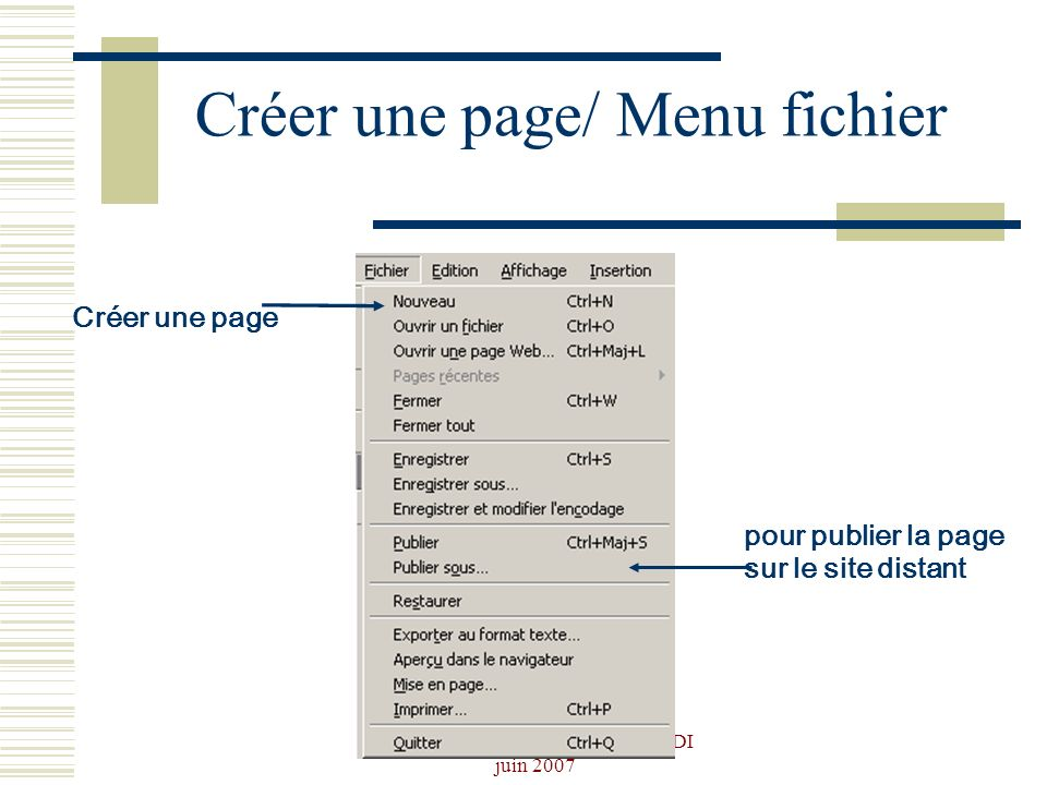 Créer une page/ Menu fichier