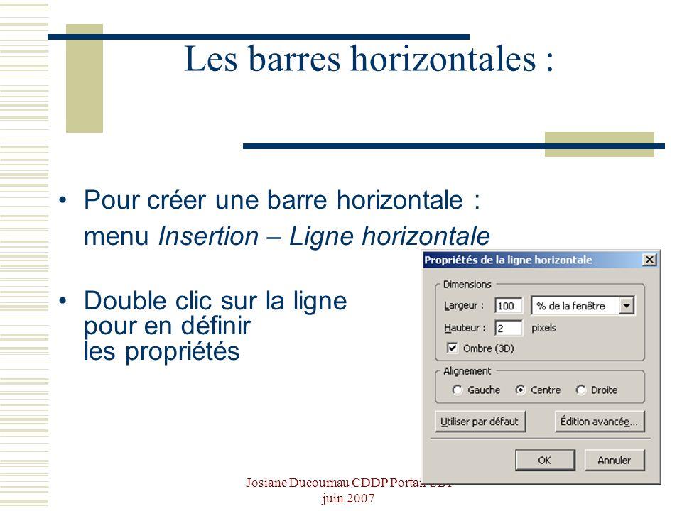 Les barres horizontales :