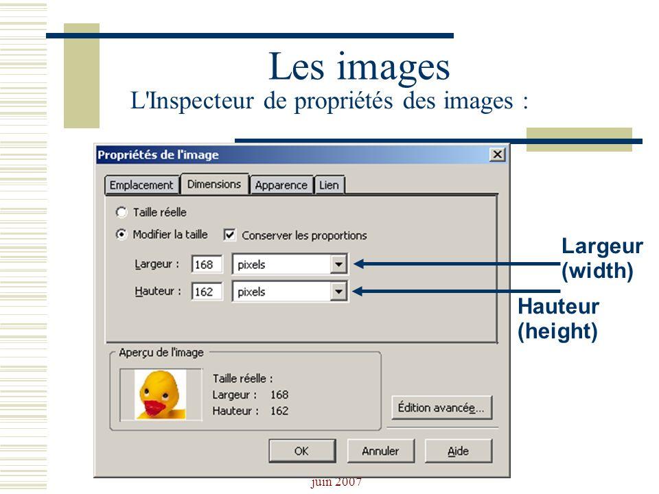 Les images L Inspecteur de propriétés des images : Largeur(width)