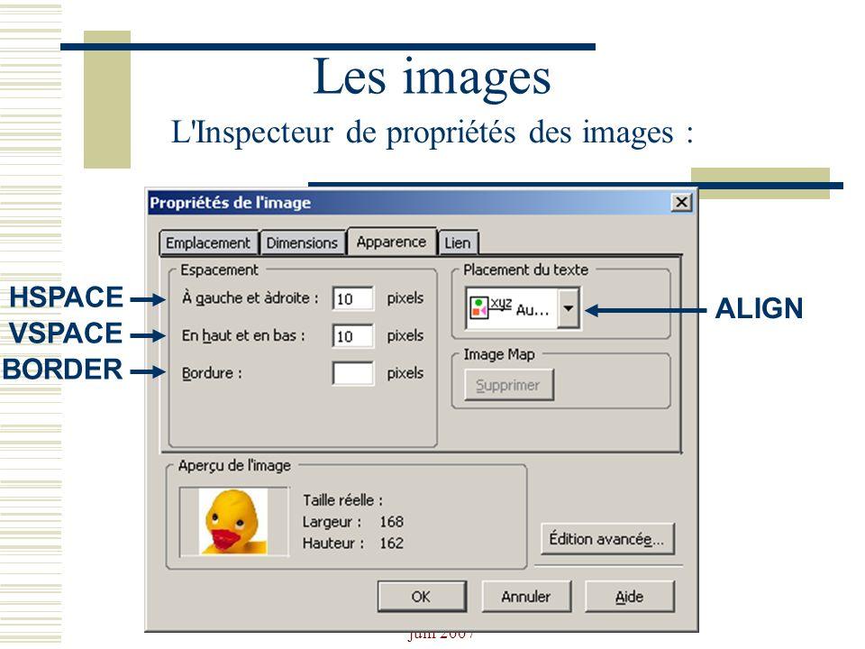 Les images L Inspecteur de propriétés des images : HSPACE ALIGN VSPACE