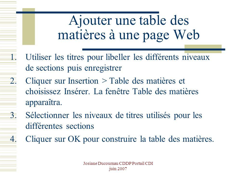 Ajouter une table des matières à une page Web