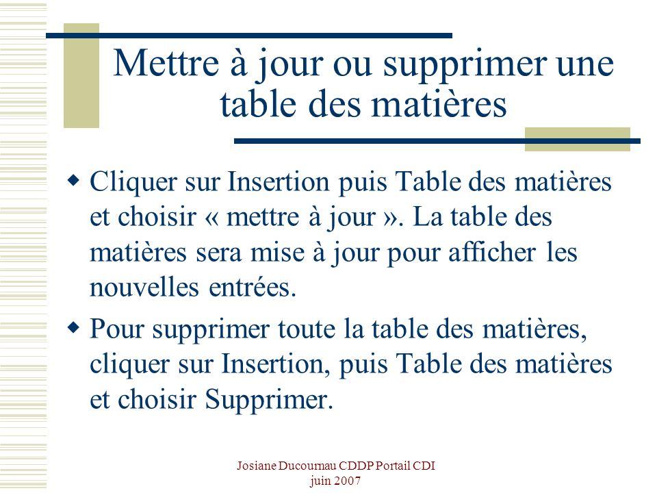 Mettre à jour ou supprimer une table des matières