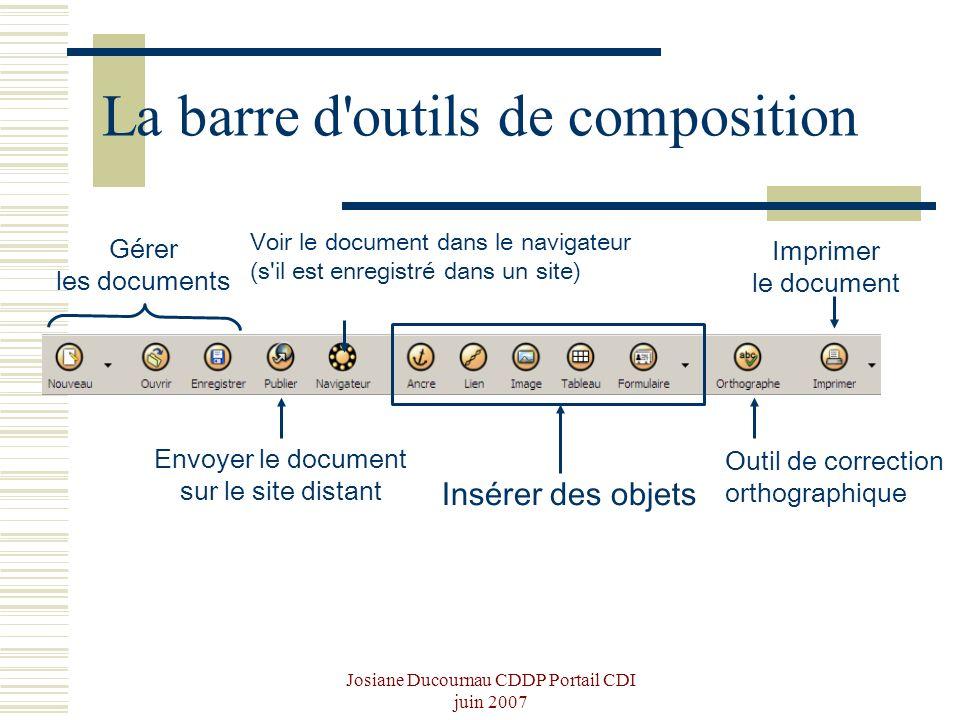 La barre d outils de composition