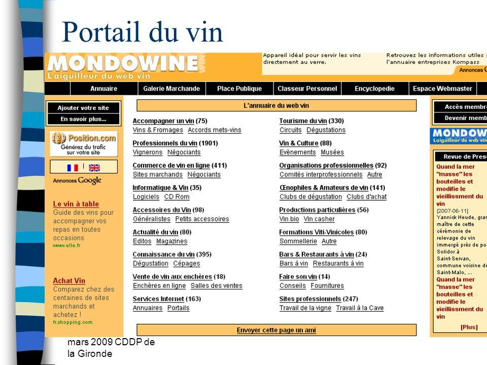 Portail du vin mars 2009 CDDP de la Gironde