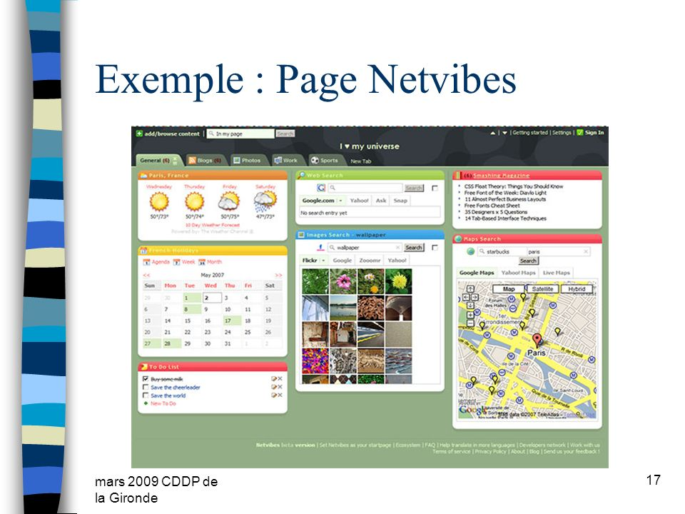 Exemple : Page Netvibes