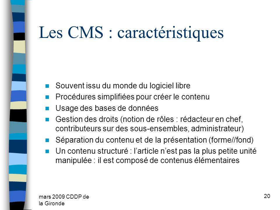 Les CMS : caractéristiques
